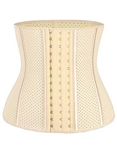 FeelinGirl Damen Korsage Korsett Shapewear Waist Cincher Taillenmieder Shapewear Unterbrust Korsett Cincher Shaper Body Neoprene Beige XL