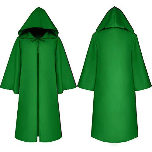 ng Hexe Umhang Cosplay Kostüme Gothic Kapuzen Umhang Cape Halloween Gothic Hexe Cosplay Robe Kostüme Umhang Mit Kapuze,Green,L ()