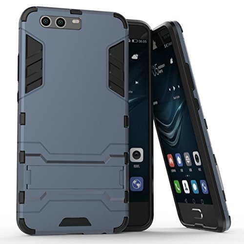 Cover Huawei P10 Plus, Custodia Huawei P10 Plus, MHHQ 2 in 1 nuovo Armour stile resistente Hybrid Dual Layer Armatura Defender PC + TPU Custodie con supporto [Custodia antiurto] per Huawei P10 Plus -Black Plus Gray