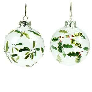gisela graham set aus zwei christbaumkugeln aus glas stechpalme und mistelzweig. Black Bedroom Furniture Sets. Home Design Ideas