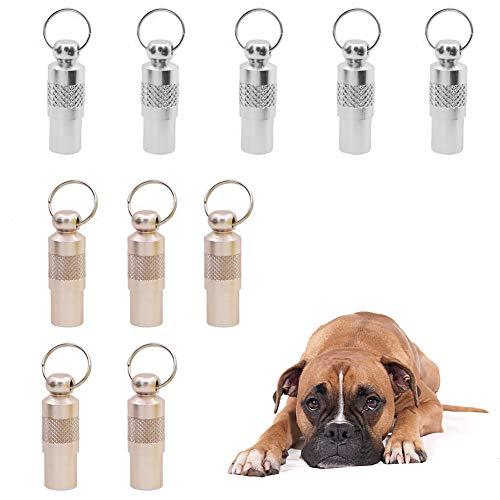 Dawa 10 targhette Anti-smarrimento, per Cani, Gatti, Cuccioli, targhetta identificativa in Acciaio Inox (Argento + Rame Rosso)