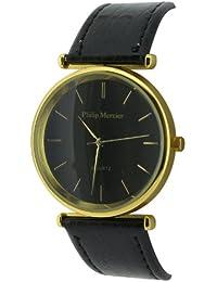 Philip Mercier SML56/C - Reloj analógico de cuarzo para hombre con correa de plástico, color negro