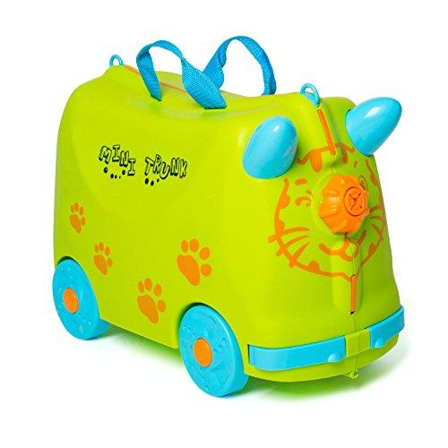 Valigia Per Bambini Trolley Bagaglio Perdo Cavalcabile Rigide (Verde)