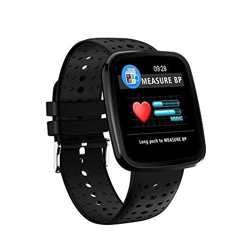 Bluetooth Intelligenter Tracker Wasserdichter Blutdruck-Herzfrequenz-Monitor, Anrufe, SMS-Erinnerung, Fitness V6J Black (Herzfrequenz-monitor Wandern)