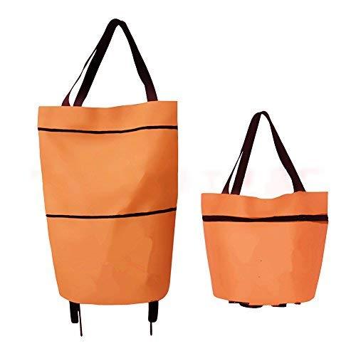 cieovo leichter Einkaufstrolley zusammenklappbar, 2Rad groß Kapazität Shopper hoher Qualität Shopper auf Rollen–Starke, wasserfest und Bequemlichkeit Orange
