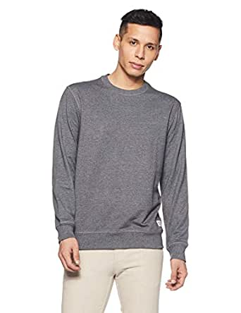 Amazon Brand - Symbol Men's Regular fit Solid Sweatshirt  (AW18MNSSW01J_Anthra Mel_X-Large)