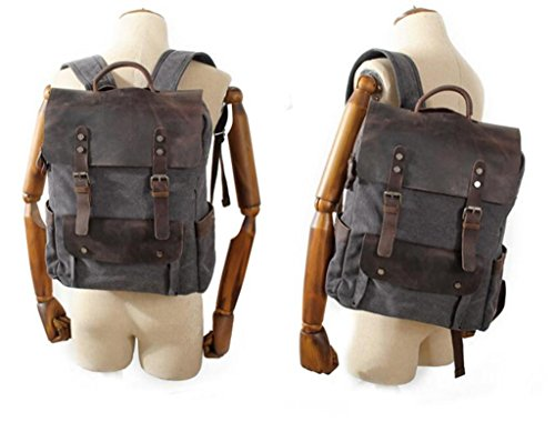 Great Strange Leder-Studenten Rucksack Retro-Leinwand Reise-Zipper Große Kapazität Drei Farben 30 * 11 * 38cm 1.2KG , deep grey deep grey