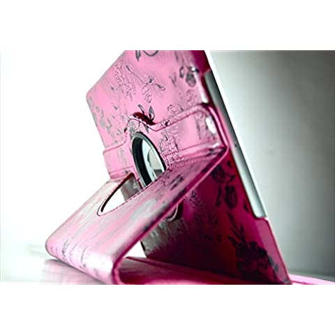 TCD for Apple iPad 2nd 3rd 4th Generation [iPad 2 3 4] Fancy PU Leather [HOT PINK] Black Stencil Flower Design [360 ? Rotation] Case & Kick [Auto Wake/Sleep Feature] [SCREEN PROTECTOR STYLUS PEN]