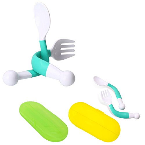 Baby Spoon Fork Set with Carrying Case Children Feeding Spoon and Fork Adjustable Fun Training with Bonus Travel Case 2 Pack (green)