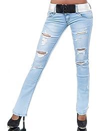 N161 Damen Jeans Hose Hüfthose Damenjeans Hüftjeans Bootcut Schlag Schlaghose