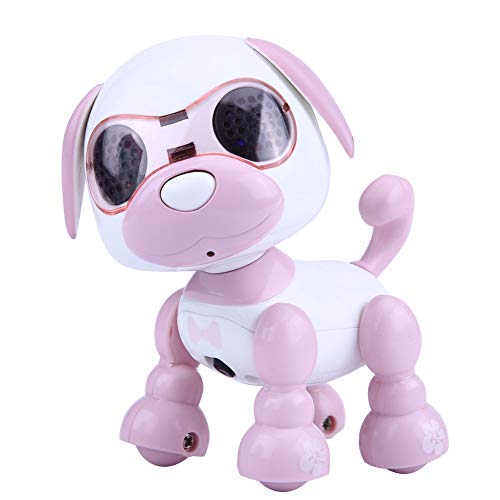 Dilwe Robot Perro de Juguete, Robot Electronico Perro Mascota Juguete Inteligente Niños Interactivo Walking Sound Perrito con Luz LED Regalo de Juguete Educativo para Niños(Rosa)