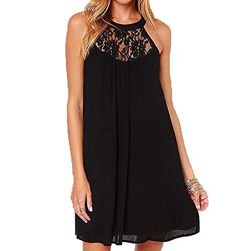 friendGGDamen Ärmelloses Kleid Bodycon Abendkleid Kurzes Minikleid Neckholder Lace Panel Chiffon-Kleid (2XL, schwarz)