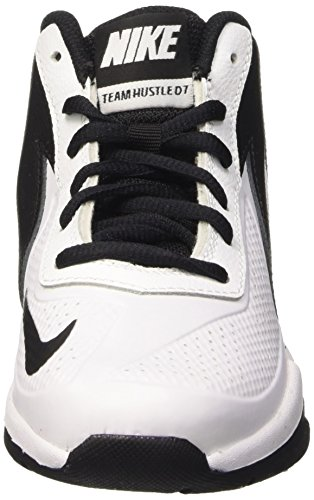 Nike Team Hustle D 7 (Ps), Chaussures de Sport-Basketball Garçon Blanc / noir (Blanc / Blanc-Black)