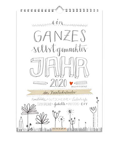 A4 Bastelkalender 2020, Recyclingpapier Fotokalender, Kreativkalender, Geburtstagskalender im Bleistift DIY Design, Grau Weiß mit Blumen, Kalender selbst gestalten, basteln und verschenken