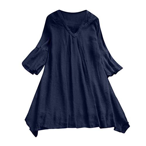 (CAOQAO Mode Frauen Casual Plissee Einfache Einfarbig DREI-HüLse V-Ausschnitt Lose Top T-Shirt Top)