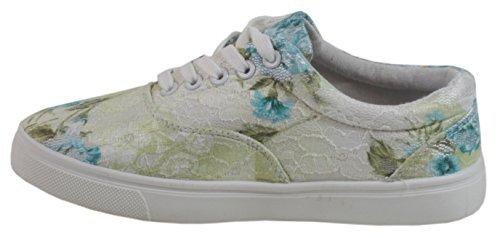 Venture - Damen Sneaker mit Spitze Blumen Motiv Schnürschuhe Sport Schuhe LOW TOP 36 37 38 39 40 41 Grün/Gelb