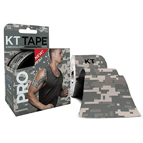 KT Tape Pro Kinesiologie-Tape, 20 vorgeschnittene 25,4 cm Streifen, Jet Black, latexfrei, wasserabweisend, Unisex-Erwachsene, Digital Camo, Digital Camo - Precut, 20 Strips (Digital Tape)