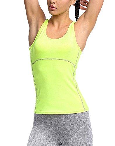 G-Fengshang Femmes d'Entraînement Débardeur Compression Fit Sèche Couche T-Shirt sans Manches green