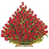 Floralbay Special Basket Arrangement of Red Roses Fresh Flowers (Basket of 51)