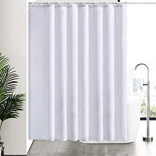 Furlinic Weiß Duschvorhang Antischimmel, Badvorhang Wasserdicht für Dusche Badewanne in Bad, Duschvorhänge Überlänge aus Stoff Waschbar, Extra Breit 244x200 mit 16 Ringe.