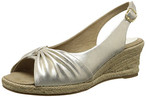 Easy Street Monica Breit Synthetik Keilabsätze Sandale Gold Metallic