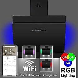 Hotte aspirante murale (60 cm, acier inoxydable, verre noir, 605 m³/h, éclairage LED RVB, contrôle WIFI, touches à détecteur TouchSelect, dépassement automatique) SOLO607SM - KKT KOLBE
