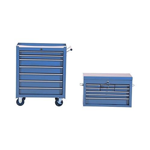 HOMCOM Fahrbarer Werkzeugwagen Werkstattwagen Rollwagen Werkzeugkasten (Blau) - 2
