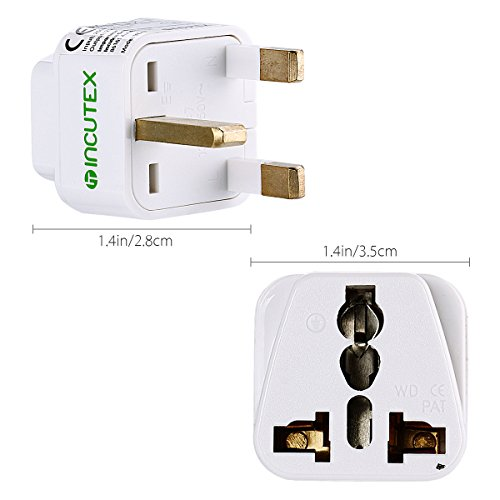Incutex 2X universal Reiseadapter Travel Adapter Internationaler Stecker universal zu UK 3 PIN, weiß Pin Steckdose