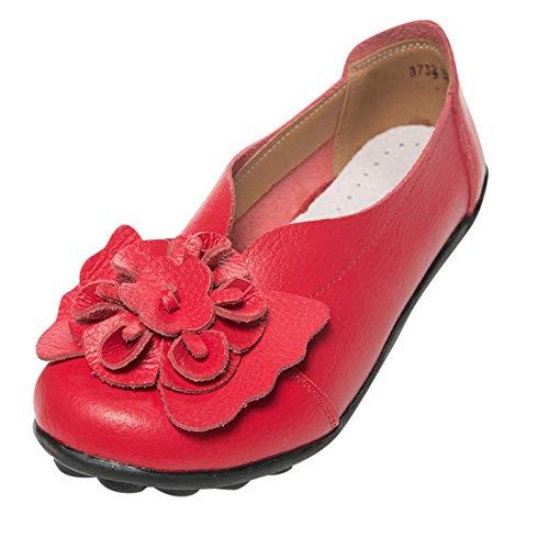 Alaso - Mocassini da donna in pelle, motivo floreale, stile casual, da barca rosso 36