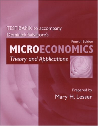 Test Bank to Accompany Microeconomics: Theory and Applications