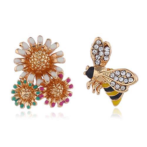 Moreoustitory Unregelmäßige Ohrringe Floral Bee Kreative Glitter Strass Dame Elegante Mode Bunte Blume Ohrstecker Persönlichkeit - Bee Floral