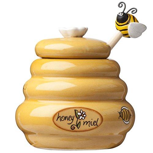 mysunshine MSC Joie Mini Honig Topf Keramik Container Jar Dipper Peilstab Bumble Bee Neuheit -