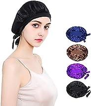 JHuuu 100% Mulberry Silk Sleep Cap Nightcap, Soft Bonnet Night Hat for Women Head Cover Bonnet for Hair Beauty