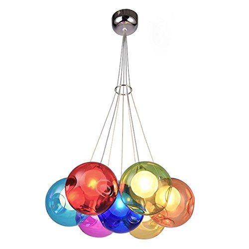 GRFH Kinderzimmer Runde Ball Mehrfarbig Blase Glas Pendelleuchten Hängen am Wohnzimmer Decke Glas Ball Kronleuchter Kristall Ball Hängeleuchten G4 110V-220V , 7 head color