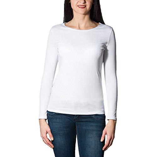 Alkato Damen Langarm Shirt mit O-Ausschnitt, Farbe: Weiß, Größe: M