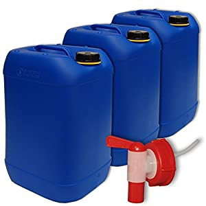 3 x 25 Liter Kanister blau (DIN 61) + 1 Hahn ***Getränkekanister Trinkwasser Camping Wasserkanister Set***