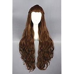 90cm Marron Couleur Cheveux longs bouclés Wave Cosplay Perruques pour Lady Galadriel du Seigneur des Anneaux et Halloween/de Noël Cosplay