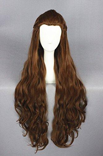 90cm braun Farbe lange gelockt Welle Cosplay Perücken für Lady Galadriel von Herr der Ringe und Halloween/Cosplay Wohltätigkeitszwecke