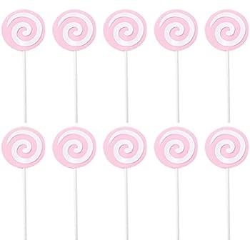 Colori Assortiti TOYANDONA 12 pz Lollipop Cake Toppers con Bowknot Birthday Party Cake Picks Decorazioni