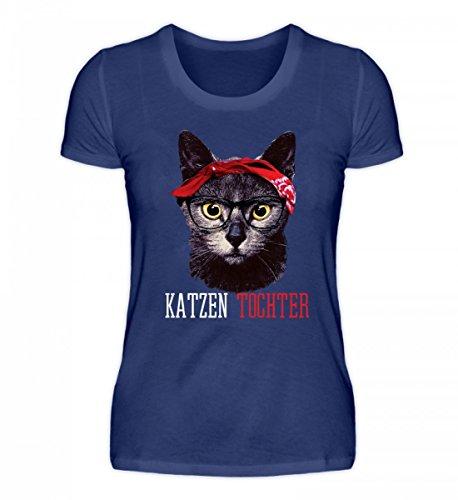 Hochwertiges Damen Organic Shirt - Katzen Tochter Lustiges Vintage Mieze Kätzchen mit Bandana T-Shirt Geschenk Damen -