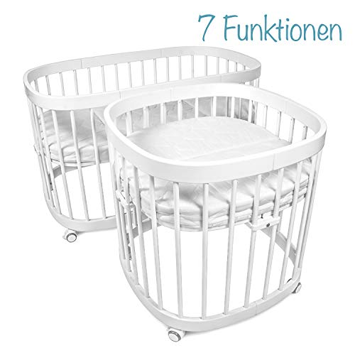 tweeto Babybett Kinderbett Baby 7-in-1 KOMPLETT-SET - multifunktional umbaubar erweiterbar inkl. Matratze Design - 2019 (Weiss) -
