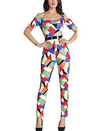 EOZY Femmes Rompers Imprimé Fleur Soirée Combinaison Jumpsuit Pantalons #4 Size4
