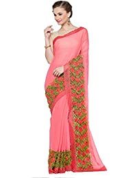 KVS FAB Pink & Green Color Chiffon Saree(KVSSR61_RV)