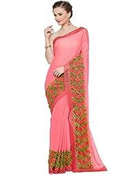 KVS FAB Pink & Green Color Chiffon Saree(KVSSR61_RV)