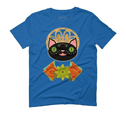 Smiling Black Cat Men's Graphic T-Shirt - Design By Humans Royal Blue