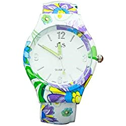 Ladies Floral Pattern Multicolored Beautiful Round Face Bracelet Bangle Watch Extra Battery