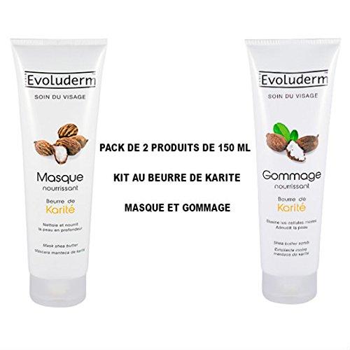 Kit AU de karité para el rostro–Máscara nourrissant AU de karité + Tratamiento Exfoliante AU de karité (2productos de 150ml)