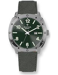 Alpha Saphir 194D - Reloj analógico de caballero de cuarzo con correa de piel gris - sumergible a 100 metros