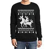 Rehntier Dreier - Lustiger Herren Weihnachtspullover Sweatshirt Medium Schwarz