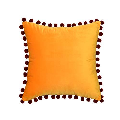 DOKOT Fundas de Cojines 45x45 cm Fundas de Almohada Terciopelo Decorativos con Pompón para Sofas Cama Dormitorio Auto Salon Naranja Amarillo